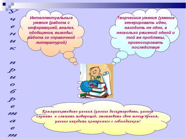 Коммуникативные умения (умение дискутировать, умение слушать и слышать товари...