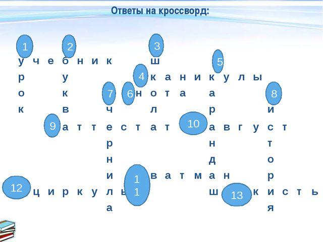 12 Ответы на кроссворд: 1 2 3 4 5 6 7 8 9 10 11 13 учебникш...