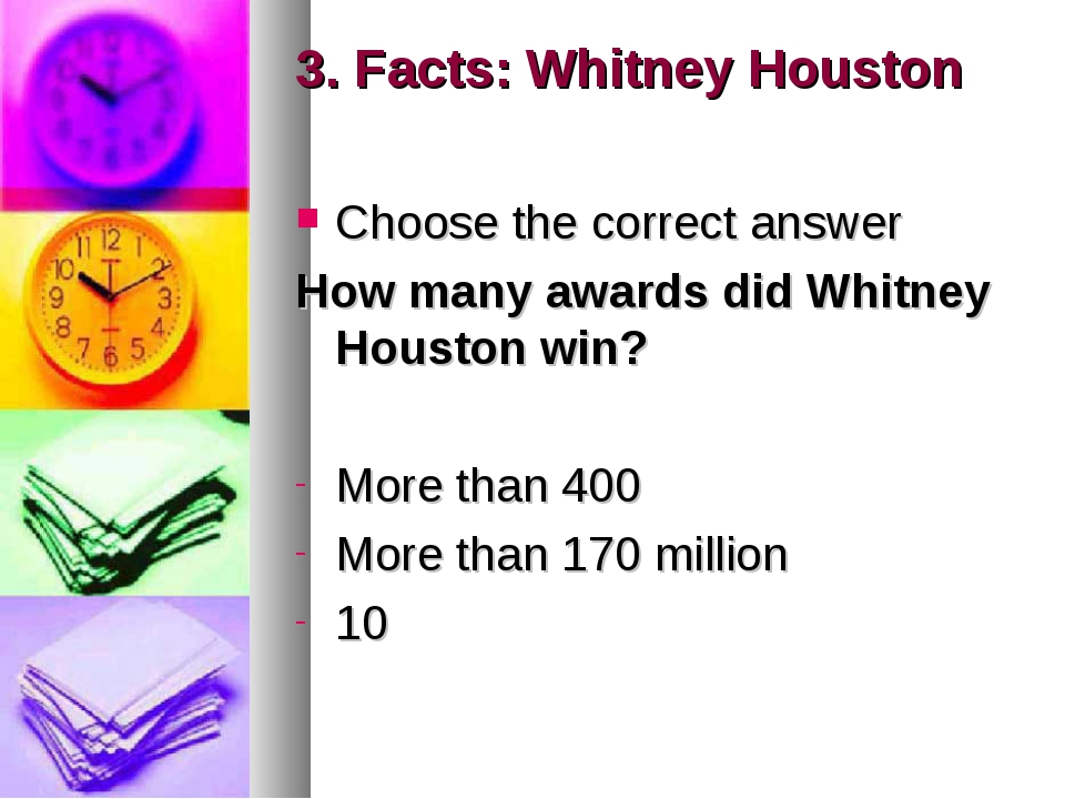 3. Facts: Whitney Houston Choose the correct answer How many awards did Whitn...