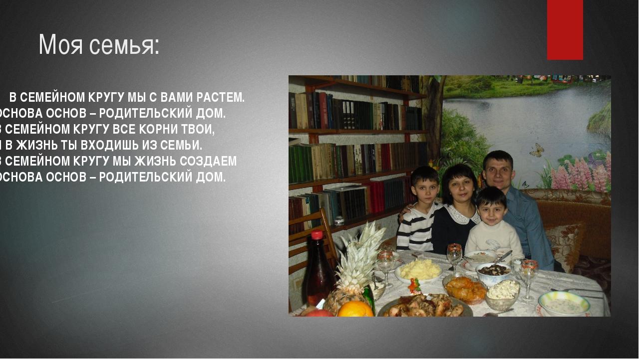 Моя семья: В СЕМЕЙНОМ КРУГУ МЫ С ВАМИ РАСТЕМ. ОСНОВА ОСНОВ – РОДИТЕЛЬСКИЙ ДОМ...