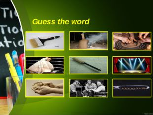 Guess the word paintbrush kiln Pottery wheel actress chisel stage clay direct