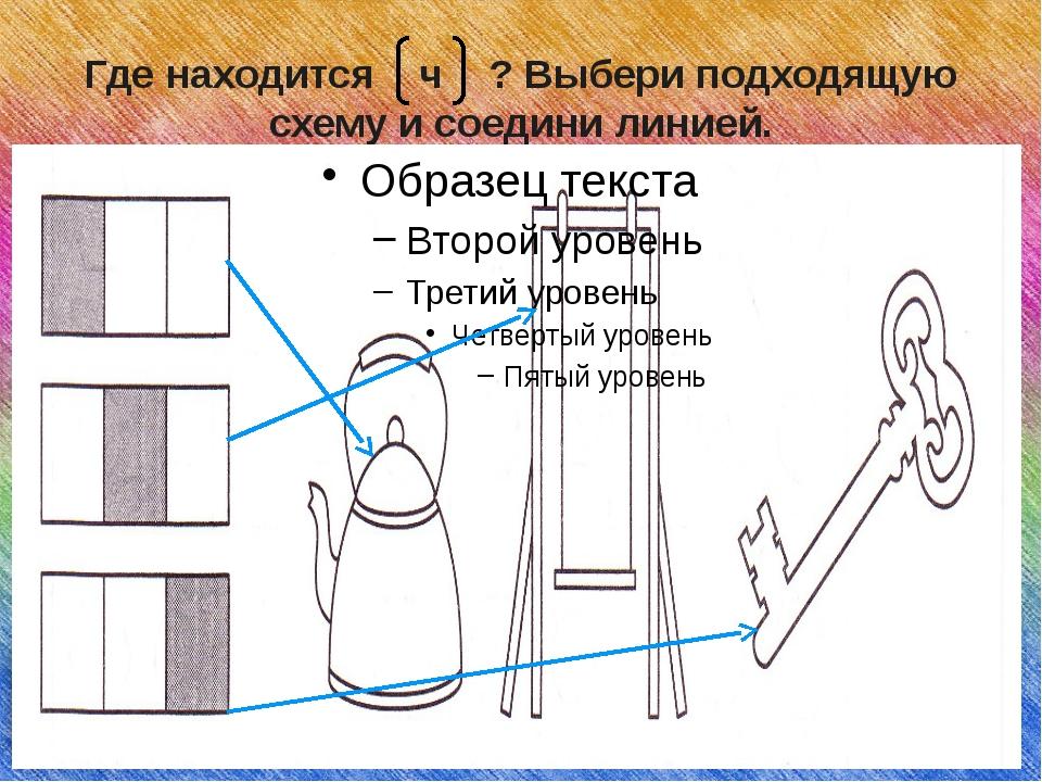 Где находится ч ? Выбери подходящую схему и соедини линией.