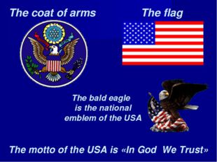 The coat of arms The flag The bald eagle is the national emblem of the USA Th