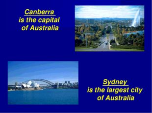 Canberra is the capital of Australia Sydney is the largest city of Australia