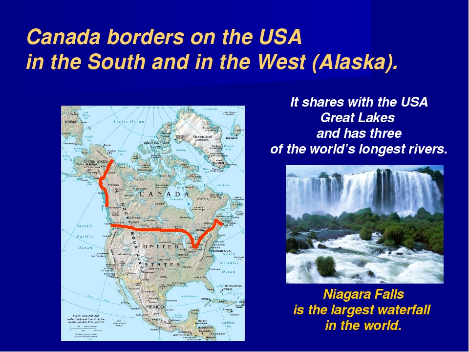 Canada borders on the USA in the South and in the West (Alaska). It shares wi...