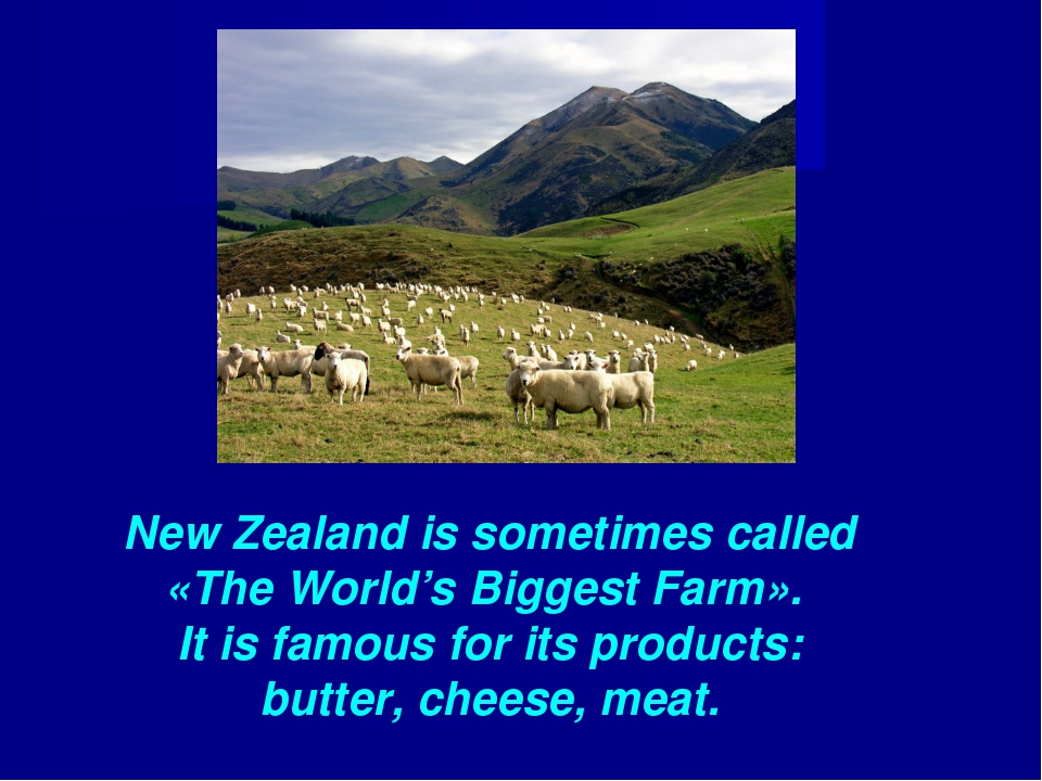 New Zealand is sometimes called «The World's Biggest Farm». It is famous for...