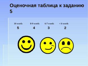 Оценочная таблица к заданию 5 10 words8-9 words6-7 words < 6 words 5 4 3