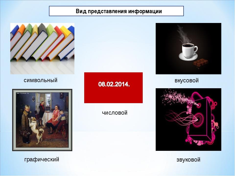 Вид представления информации символьный символьный графический звуковой вкус...