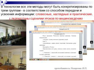 преподаватель Назаренко И.П. В технологии все эти методы могут быть конкретиз