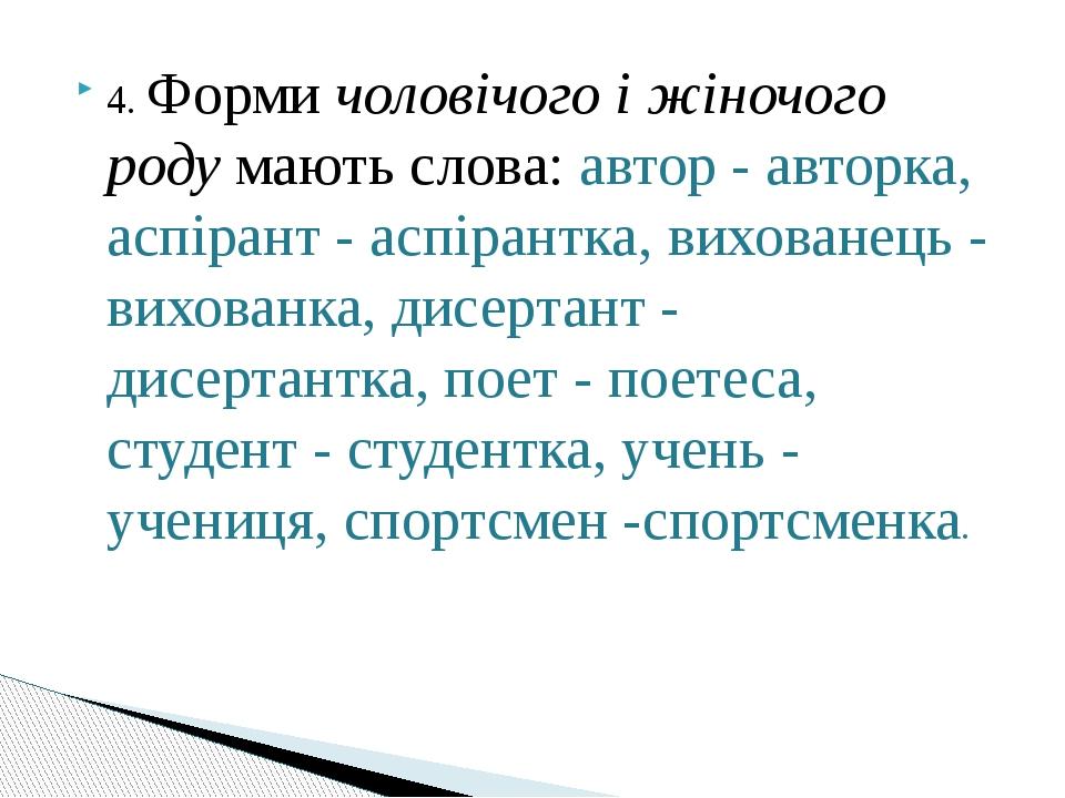 4. Форми чоловічого і жіночого роду мають слова: автор - авторка, аспірант -...