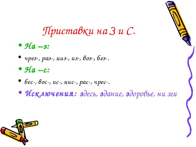 Приставки на З и С. На –з: чрез-, раз-, низ-, из-, воз-, без-. На –с: бес-, в...