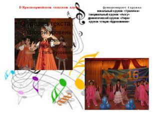 В Красноармейском сельском клубе функционируют 4 кружка: вокальный кружок «У