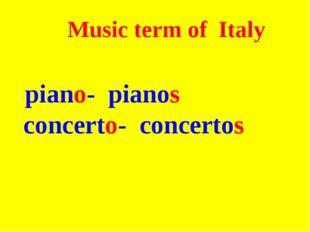 Music term of Italy piano- pianos concerto- concertos