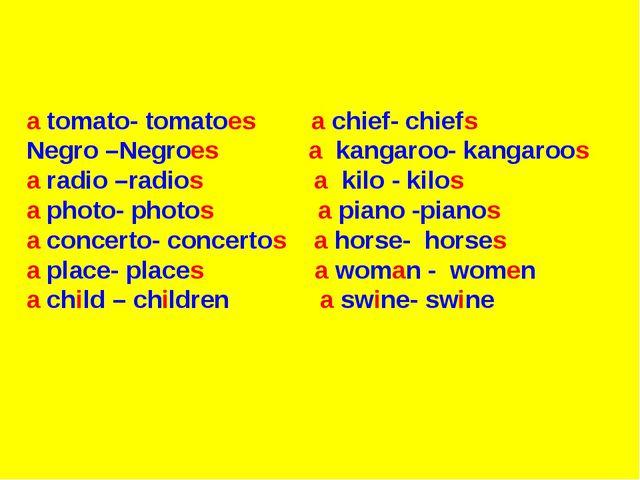 a tomato- tomatoes a chief- chiefs Negro –Negroes a kangaroo- kangaroos a ra...