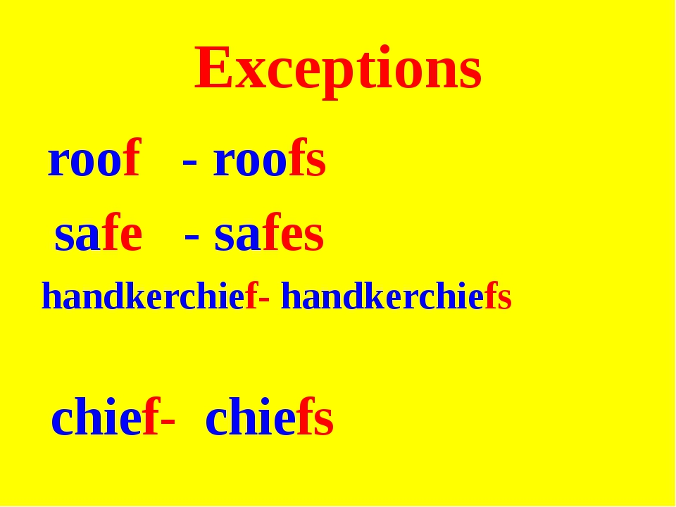 Exceptions roof - roofs safe - safes handkerchief- handkerchiefs chief- chiefs
