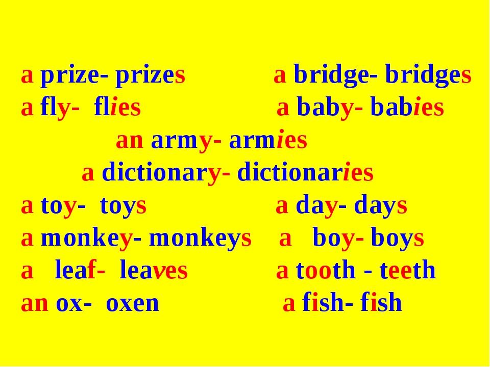 a prize- prizes a bridge- bridges a fly- flies a baby- babies an army- armie...