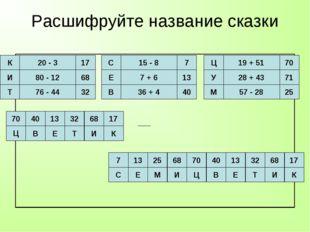 Расшифруйте название сказки К И Т 20 - 3 80 - 12 76 - 44 17 68 32 С Е В 15 -
