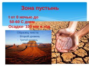 Зона пустынь t от 0 ночью до 50-60 С днем Осадки- 100 мм в год