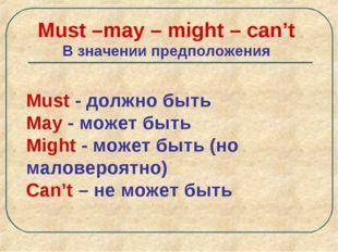 Must –may – might – can't В значении предположения Must - должно быть May - м