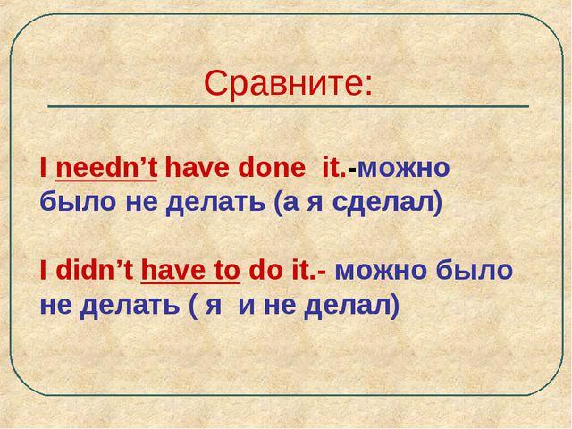 Сравните: I needn't have done it.-можно было не делать (а я сделал) I didn't...