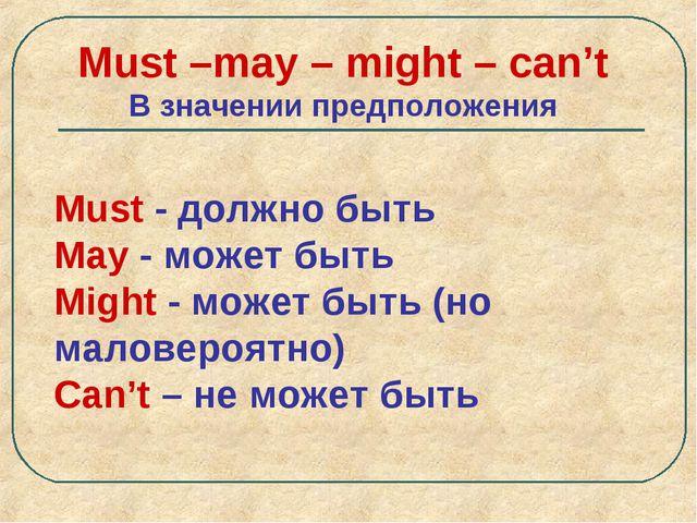 Must –may – might – can't В значении предположения Must - должно быть May - м...