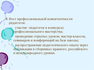 4. Рост профессиональной компетентности педагогов: участие педагогов в конку