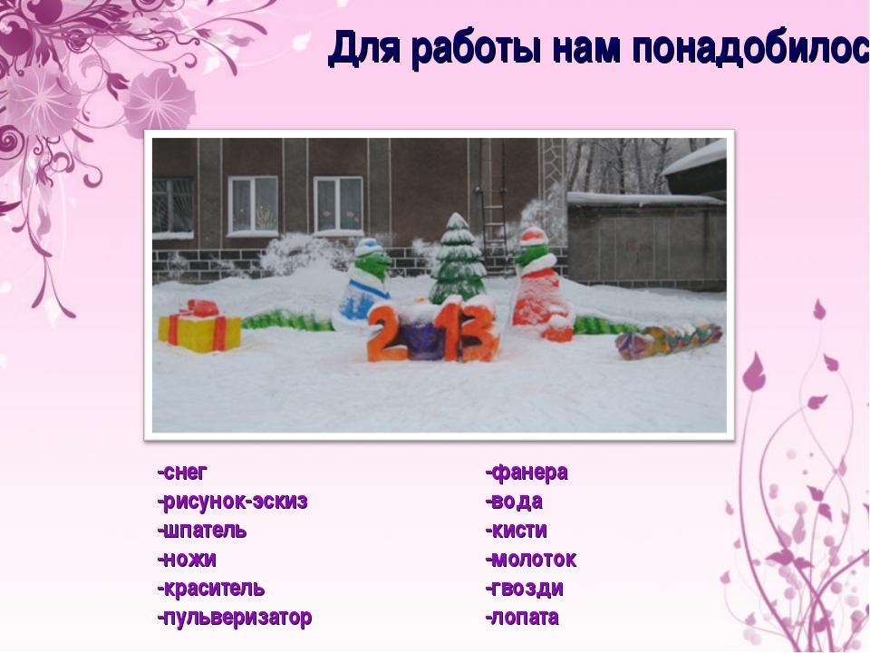 -снег -рисунок-эскиз -шпатель -ножи -краситель -пульверизатор Для работы нам...