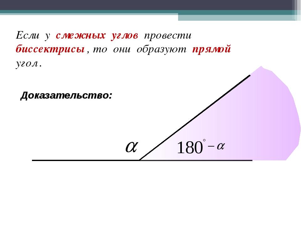 Если у смежных углов провести биссектрисы , то они образуют прямой угол . Док...