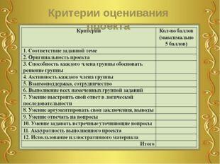 Критерии оценивания проекта