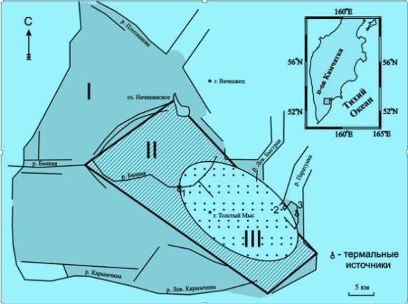 Местоположение кальдеры Карымшина и ее сопоставление с вулкано-тектоническими депрессиями, выделявшимися в данном районе ранее. I - Карымшинская вулкано-тектоническая депрессия [12], II- Банно-Карымшинская вулкано-тектоническая депрессия [22], III - кальдера Карымшина (выделена впервые в данной работе). 1, 2, 3 - группы термальных источников (1 - Больше-Банные, 2 - Карымшинские, 3 - Верхне-Паратунские). На врезке в верхнем правом углу показано местоположение рассматриваемого района на Камчатке.