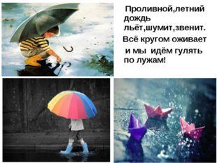 Проливной,летний дождь льёт,шумит,звенит. Всё кругом оживает и мы идём гулят
