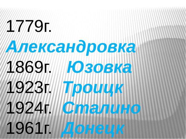 1779г. Александровка 1869г. Юзовка 1923г. Троицк 1924г. Сталино 1961г. Донецк