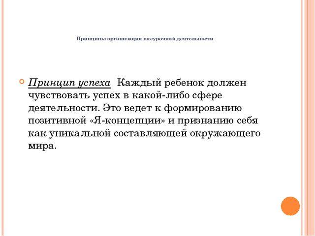 Принципы организации внеурочной деятельнос...