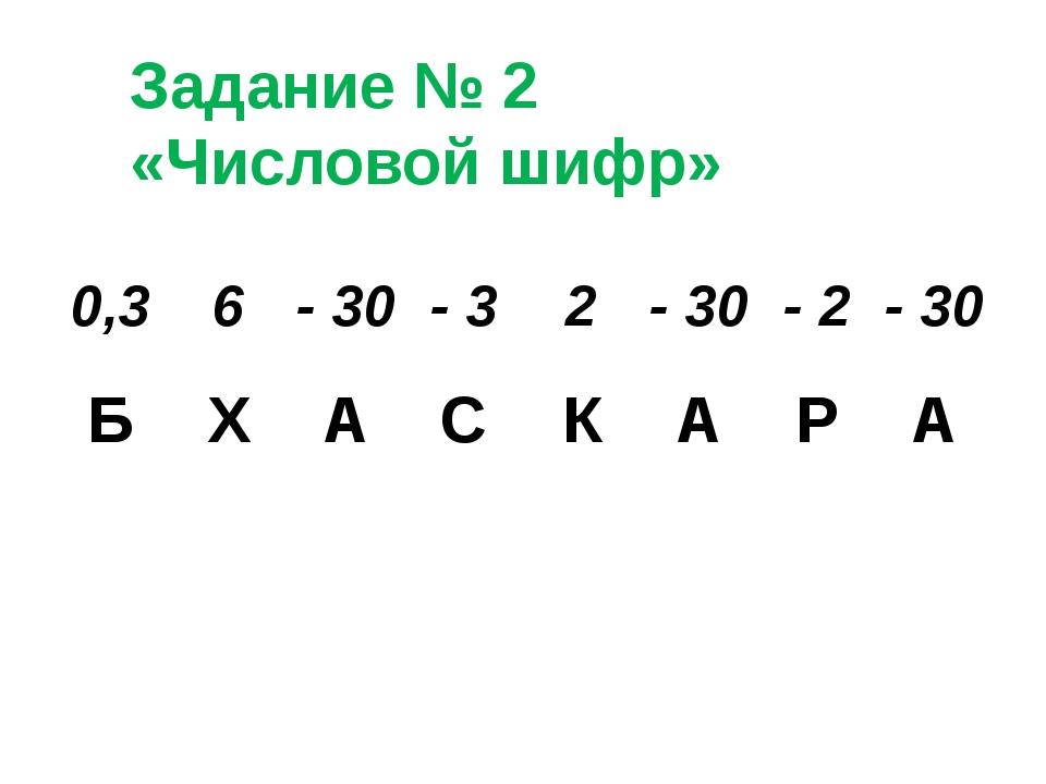Задание № 2 «Числовой шифр» 0,3 6 - 30 - 3 2 - 30 - 2 - 30 Б Х А С К А Р А