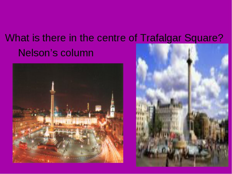 What is there in the centre of Trafalgar Square? Nelson's column