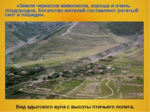 «Земля черкесов живописна, хороша и очень плодородна. Богатство жителей сост