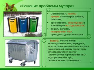«Решение проблемы мусора» Организовать пункты приема стеклотары, бумаги, плас