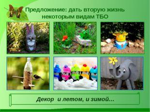 Предложение: дать вторую жизнь некоторым видам ТБО Декор и летом, и зимой…