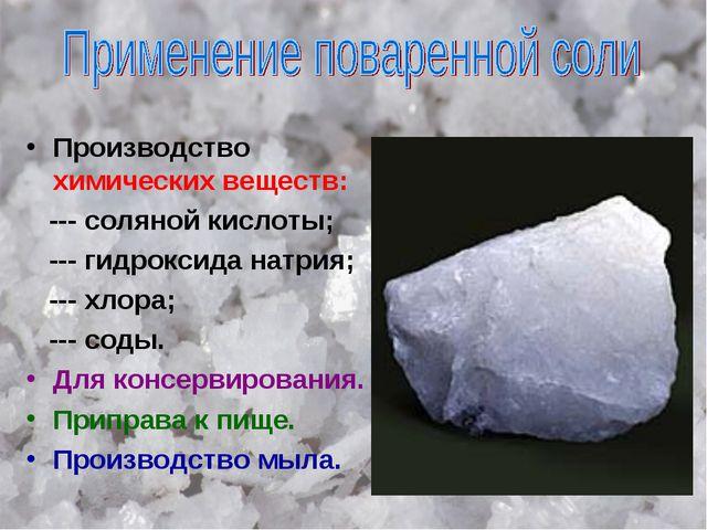 Производство химических веществ: --- соляной кислоты; --- гидроксида натрия;...