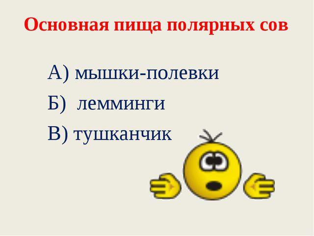 Основная пища полярных сов А) мышки-полевки Б) лемминги В) тушканчик