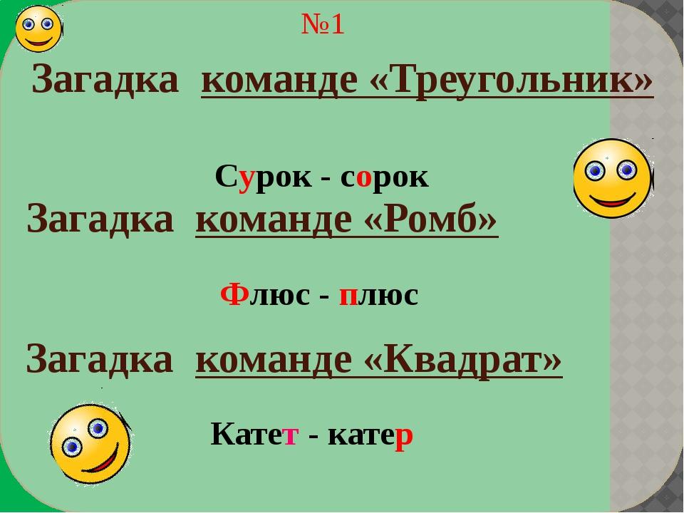 Загадка команде «Квадрат» №2 Загадка команде «Треугольник» Загадка команде «...
