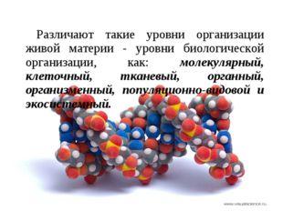 Различают такие уровни организации живой материи - уровни биологической орган