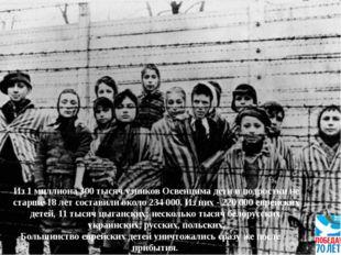 Из 1 миллиона 300 тысяч узников Освенцима дети иподростки не старше 18 лет с