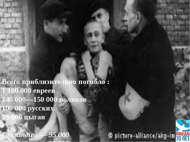 Всего приблизительно погибло : 1 100 000 евреев 140 000—150 000 поляков 100 0...