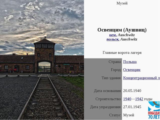 Музей Освенцим (Аушвиц) нем.Auschwitz польск.Auschwitz Главные ворота лагер...