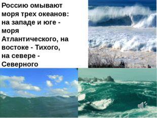Россию омывают моря трех океанов: на западе и юге - моря Атлантического, на в