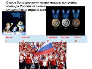 Самое большое количество медаль получила команда России на зимних Олимпийских