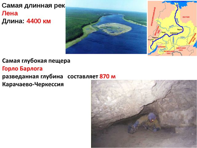 Самая длинная река Лена Длина: 4400 км
