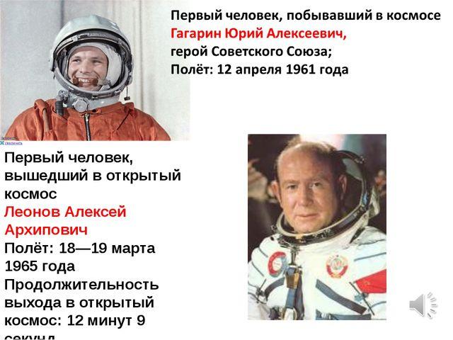 Первый человек, вышедший в открытый космос Леонов Алексей Архипович Полёт: 18...