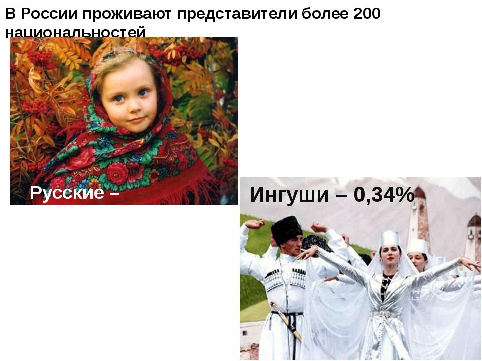 В России проживают представители более 200 национальностей Русские – 80% Ингу...
